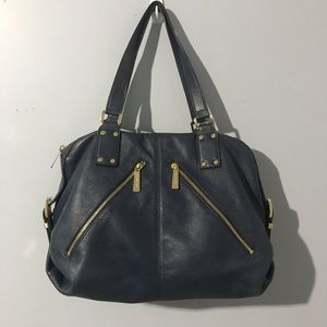 Michael Kors Pebbled Leather Blue Handbag Purse